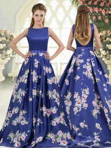 Eye-catching Sleeveless Beading and Pattern Backless Mother Of The Bride Dress with Royal Blue Brush Train