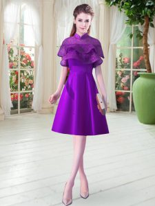 Best Knee Length Eggplant Purple Mother Of The Bride Dress High-neck Cap Sleeves Lace Up