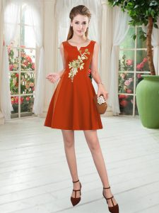 Unique Rust Red Sleeveless Satin Zipper Mother Of The Bride Dress for Prom and Party