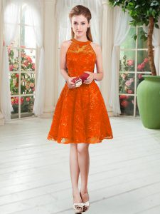 Elegant Rust Red Zipper Mother Dresses Sleeveless Knee Length Lace