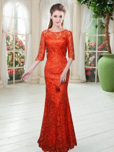 Half Sleeves Floor Length Lace Zipper Mother Of The Bride Dress with Orange Red