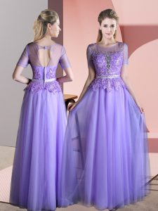 Empire Mother Of The Bride Dress Lavender Scoop Tulle Short Sleeves Floor Length Backless