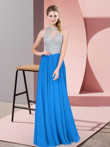 Blue Empire Chiffon High-neck Sleeveless Beading Floor Length Zipper Mother Of The Bride Dress