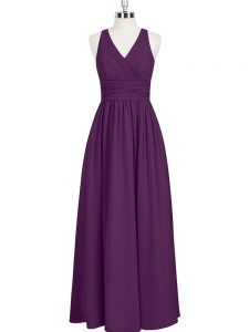 Ruching Mother Of The Bride Dress Eggplant Purple Zipper Sleeveless Floor Length