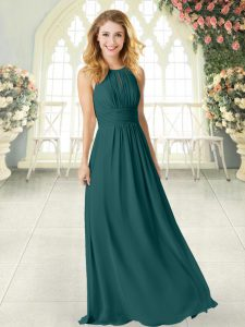Floor Length Zipper Mother Of The Bride Dress Peacock Green for Prom and Party with Ruching