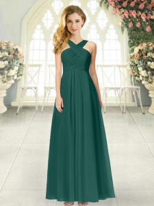 Empire Mother Of The Bride Dress Peacock Green Straps Chiffon Sleeveless Floor Length Zipper