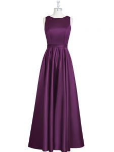 New Style Elastic Woven Satin Scoop Sleeveless Backless Ruching and Pleated Mother Of The Bride Dress in Eggplant Purple