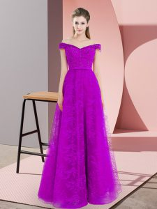 Elegant Purple Sleeveless Beading and Lace Floor Length Mother Of The Bride Dress