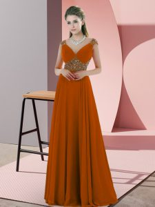 Cheap Orange Backless V-neck Beading Mother of Groom Dress Chiffon Sleeveless
