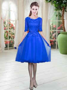 Gorgeous Half Sleeves Knee Length Lace Lace Up Mother Of The Bride Dress with Royal Blue