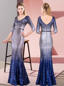 Artistic Multi-color Zipper V-neck Belt Mother Of The Bride Dress Sequined 3 4 Length Sleeve