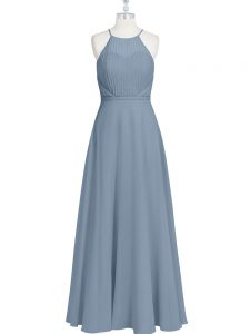 Top Selling Grey Sleeveless Chiffon Zipper Mother Of The Bride Dress for Prom and Party and Military Ball