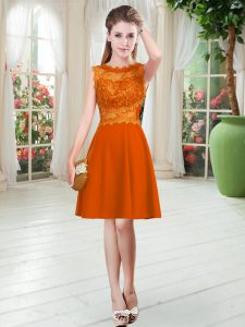 Dazzling Knee Length Orange Red Mother Of The Bride Dress Scalloped Sleeveless Zipper