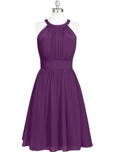 Sleeveless Chiffon Mini Length Zipper Mother Of The Bride Dress in Purple with Ruching