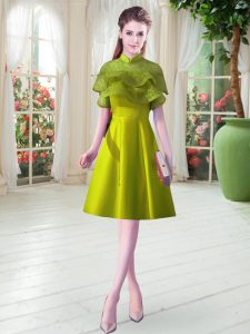 Simple Olive Green Cap Sleeves Knee Length Ruffled Layers Lace Up Mother of the Bride Dress