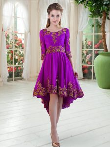 Perfect Satin Scoop Long Sleeves Embroidery Mother of Bride Dresses in Purple