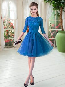 Flirting Tulle Scalloped Half Sleeves Zipper Lace Mother Of The Bride Dress in Blue