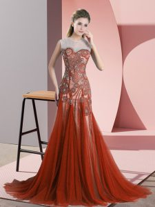 Rust Red Scoop Backless Beading Mother Of The Bride Dress Sweep Train Sleeveless