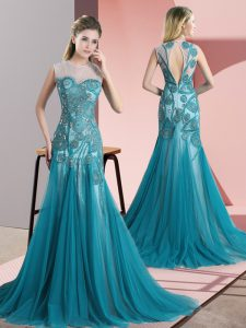 Teal Tulle Backless Mother Of The Bride Dress Sleeveless Sweep Train Beading and Appliques