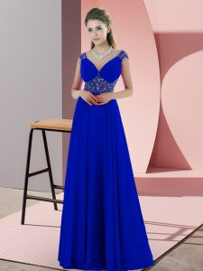 Fantastic Blue Mother Of The Bride Dress Prom and Party with Beading and Pick Ups V-neck Sleeveless Sweep Train Backless