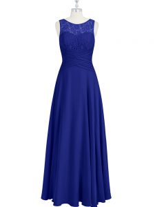 Customized Royal Blue Scoop Zipper Lace and Pleated Mother Of The Bride Dress Sleeveless