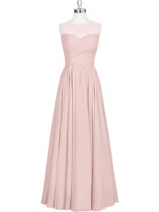 Sleeveless Zipper Floor Length Ruching Mother Of The Bride Dress
