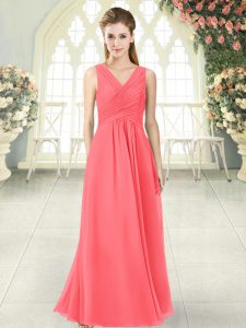 Traditional Ruching Mother Of The Bride Dress Watermelon Red Zipper Sleeveless Floor Length