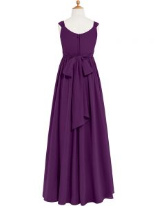 Eggplant Purple Sleeveless Ruching Floor Length Mother Of The Bride Dress