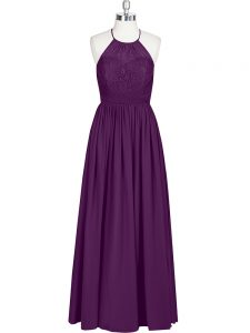Clearance Halter Top Sleeveless Zipper Mother of Groom Dress Eggplant Purple Chiffon