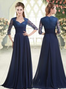 Long Sleeves Pick Ups Zipper Mother Of The Bride Dress with Blue Sweep Train