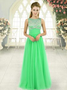 High Quality Scoop Sleeveless Chiffon Mother Of The Bride Dress Beading Backless