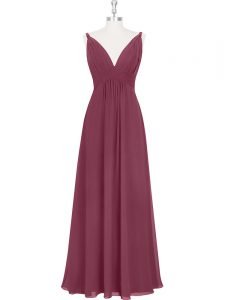 Dramatic Burgundy Mother Of The Bride Dress Prom and Party and Military Ball with Ruching and Pleated V-neck Sleeveless Backless