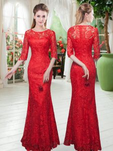 Inexpensive Floor Length Zipper Mother Of The Bride Dress Red for Prom and Party with Lace