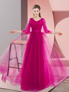Inexpensive Pink and Fuchsia Zipper Mother Of The Bride Dress Beading Long Sleeves Floor Length