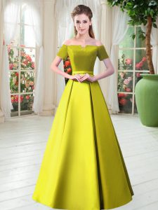 Top Selling Yellow Green A-line Belt Mother Dresses Lace Up Satin Short Sleeves Floor Length