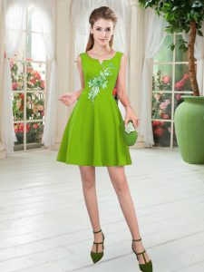 Sleeveless Satin Mini Length Zipper Mother Of The Bride Dress in with Appliques