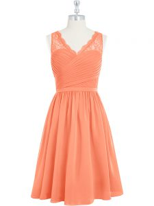Extravagant Mini Length Side Zipper Mother Dresses Orange for Prom and Party with Lace