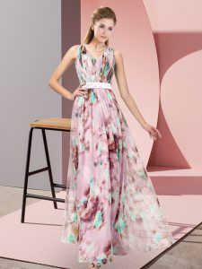 Sweet Multi-color Printed Zipper V-neck Sleeveless Floor Length Mother Of The Bride Dress Pattern