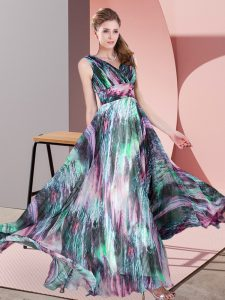 Customized Printed Sleeveless Floor Length Mother Of The Bride Dress and Pattern