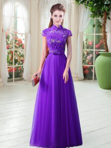 Unique High-neck Cap Sleeves Lace Up Mother Of The Bride Dress Eggplant Purple Tulle