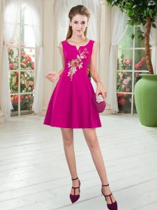 Scoop Sleeveless Zipper Mother Of The Bride Dress Fuchsia Satin
