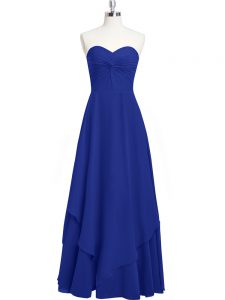 Fine Royal Blue Mother Of The Bride Dress Prom and Party and Military Ball with Pleated Sweetheart Sleeveless Zipper