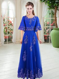 Scoop Half Sleeves Lace Up Mother Of The Bride Dress Royal Blue Tulle