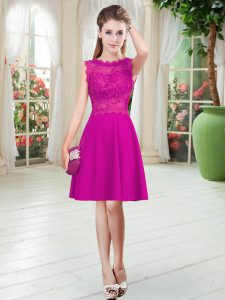 Ideal Fuchsia Sleeveless Satin Zipper Mother Of The Bride Dress for Prom and Party