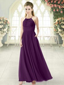 Purple Halter Top Neckline Lace Mother Of The Bride Dress Sleeveless Backless