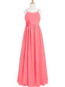 Lovely Watermelon Red Zipper Mother Of The Bride Dress Pleated and Hand Made Flower Sleeveless Floor Length