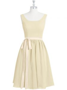 Stylish Belt Mother Of The Bride Dress Light Yellow Zipper Sleeveless Mini Length