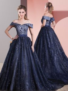 Elegant Navy Blue Sleeveless Court Train Beading Mother Of The Bride Dress