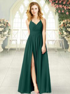 Sleeveless Chiffon Floor Length Zipper Mother Of The Bride Dress in Peacock Green with Ruching