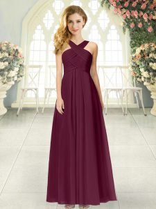Cheap Sleeveless Chiffon Floor Length Zipper Mother Of The Bride Dress in Burgundy with Ruching